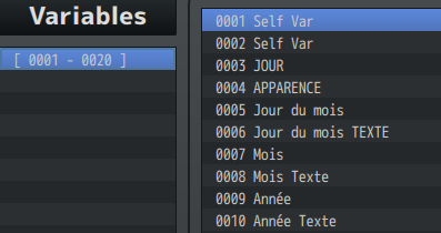 Système Craft / Calendrier Variables