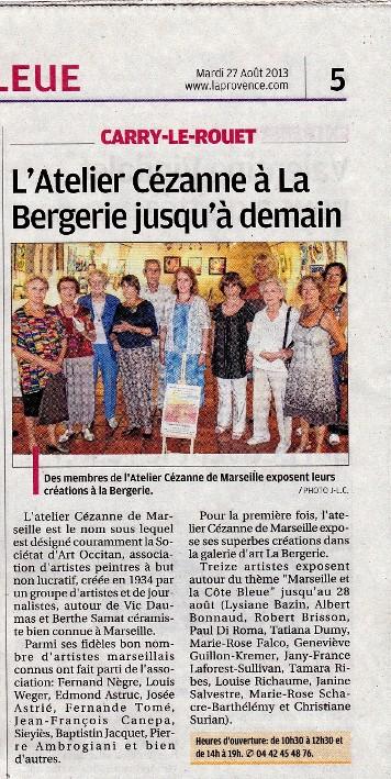 article de La Provence sur l'exposition de Carry le Rouet 2013 - Tamara Ribes