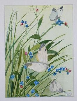 """Peinture aquarelle """"Les papillons"""""""