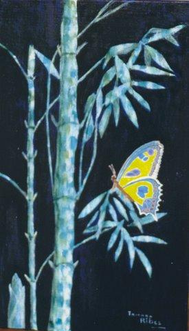 "Peinture ""Bambous et Papillon"" Tamara ribes peintre"