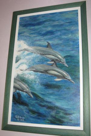 "Peinture huile ""les dauphins"""