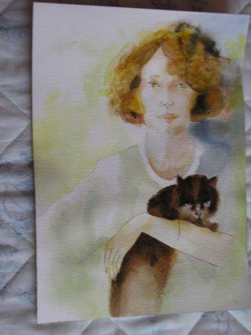 """Peinture aquarelle """"La jeune fille et le chat """""""
