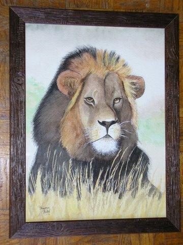 """Peinture aquarelle """"le lion"""""""