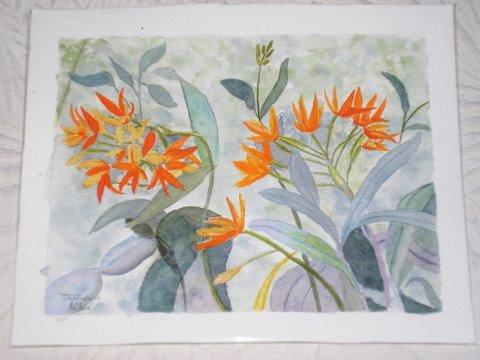 """Peinture aquarelle """"orchidées"""""""