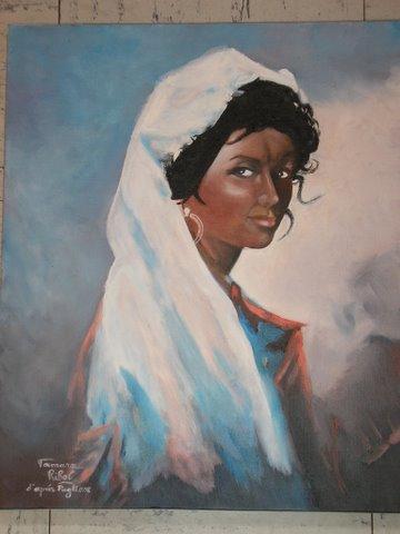 """Peinture huile """"portrait d'une Castillane"""""""