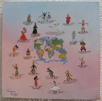 """Peinture huile """"Tour du monde"""""""