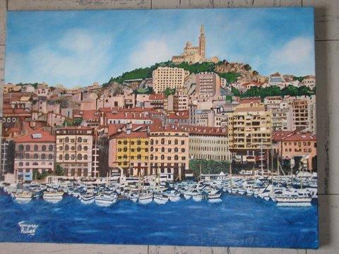 """Peinture huile """"Marseille - vue du Vieux-Port"""""""