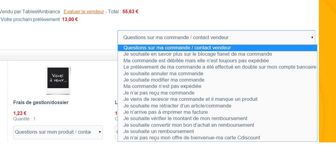 Communication avec client via compte- Réclamations Contact_vendeur_Cdiscount